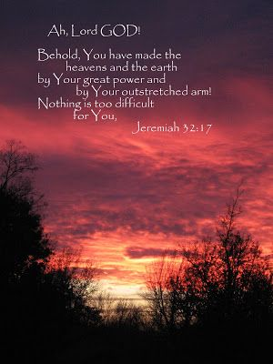 Jeremiah 32 17 red sunset background